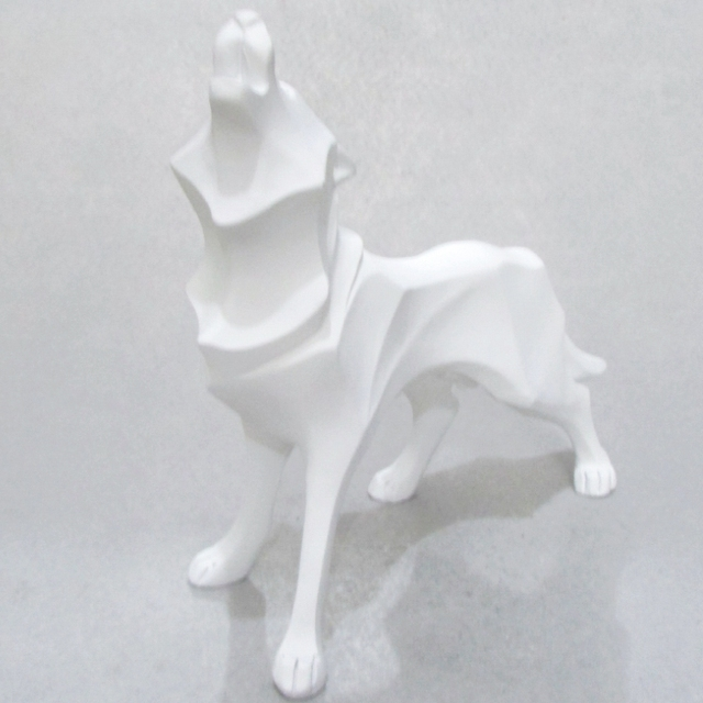 Abstract Totem Wolf Dog Statue Sculpture Geometric Resin Furnishing Home Decoration Accessories Modern Ornament Gifts Crafts
