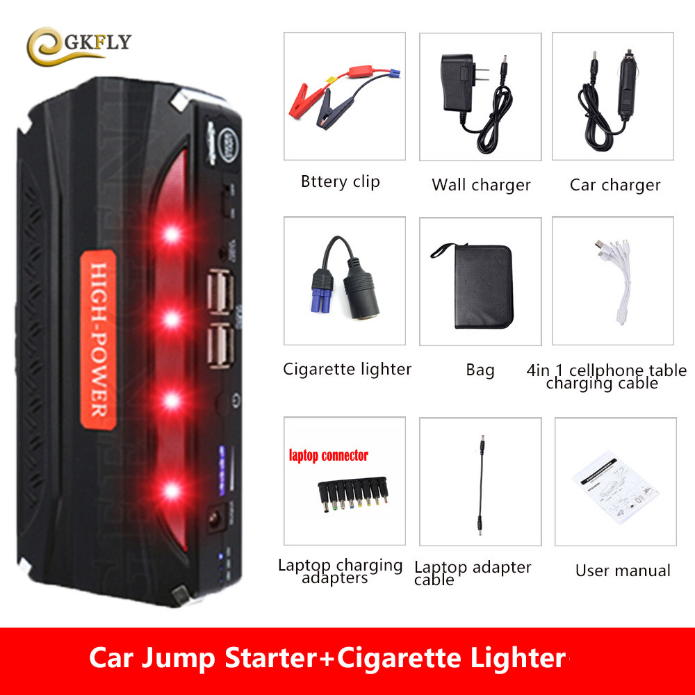 Mini Emergency Car Jump Starter 600A 12V Portable Power Bank Battery Charger Car Booster Car Charger Starting Device SOS Light