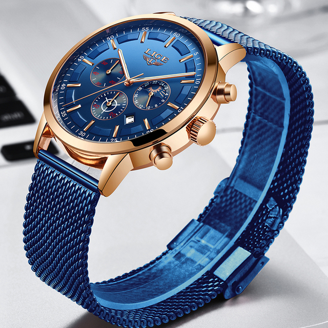 Relogio Masculino LIGE Luxury Quartz Watch for Men Blue Dial Watches Sports Watches Moon Phase Chronograph Mesh Belt Wrist Watch 2