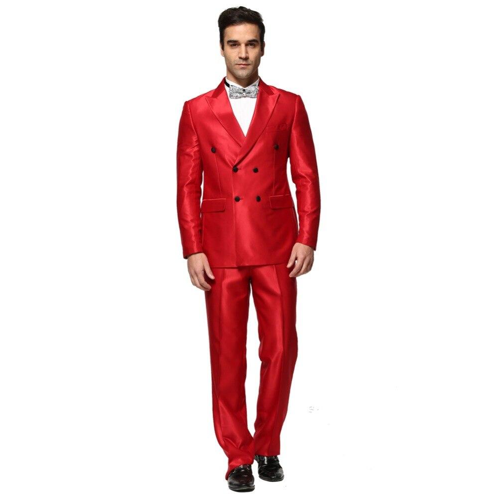 Hommes Costume 2016 nouveau brillant rouge Double Breasted hommes daffaires de Mariage costumes parti