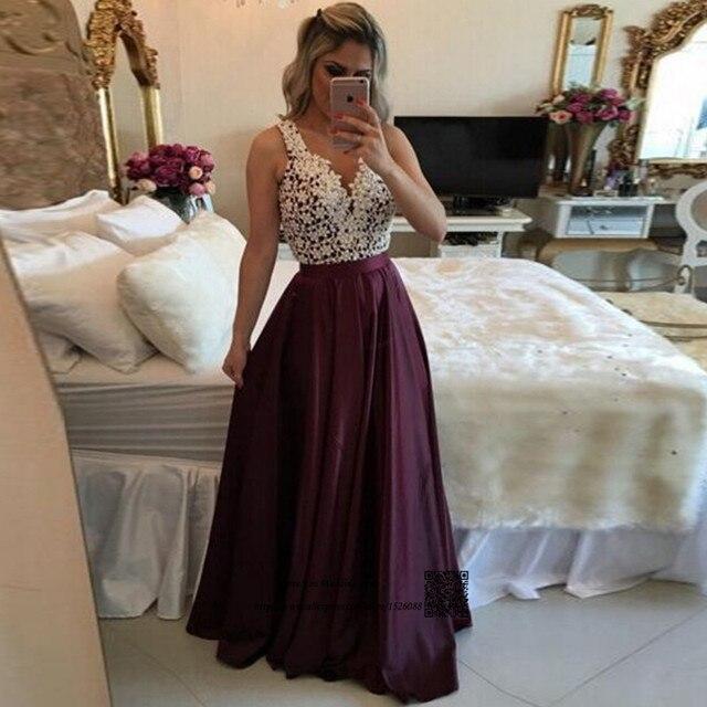 ae5381ef3 Vestido Longo de Festa Púrpura Blanco de Encaje Vestidos de Noche Formales  vestidos Largos Longitud Del