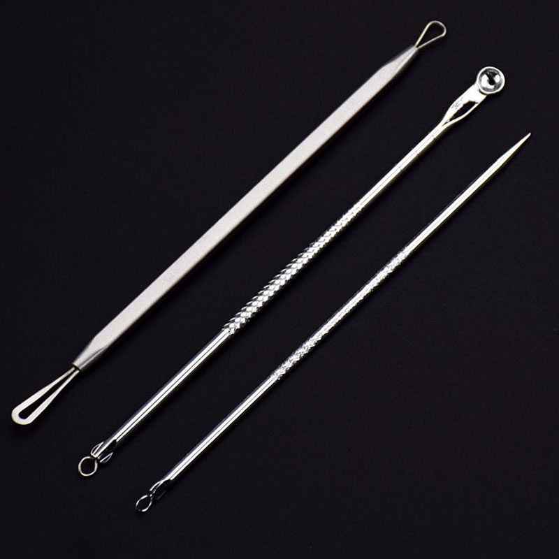 3pcs Silver Blackhead Comedone Extractor Acne Tool Blemish Extractor Pimple Remover Cosmetic Tool Stainless Acne Needles Remove