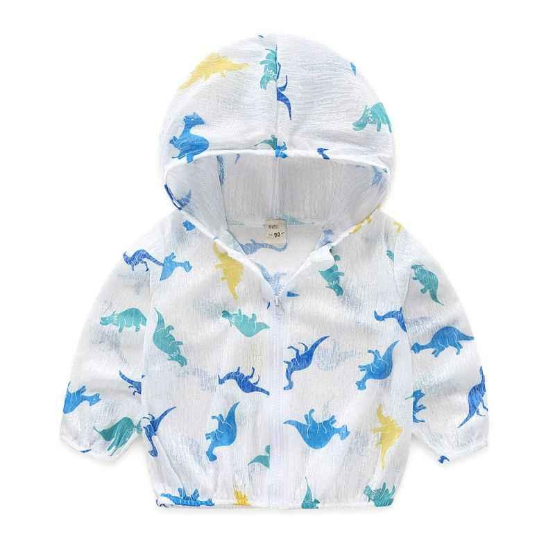 Дышащее пальто на молнии для маленьких мальчиков и девочек, верхняя одежда, Солнцезащитная одежда, детская одежда с героями мультфильмов, летняя куртка с капюшоном и принтом для малышей