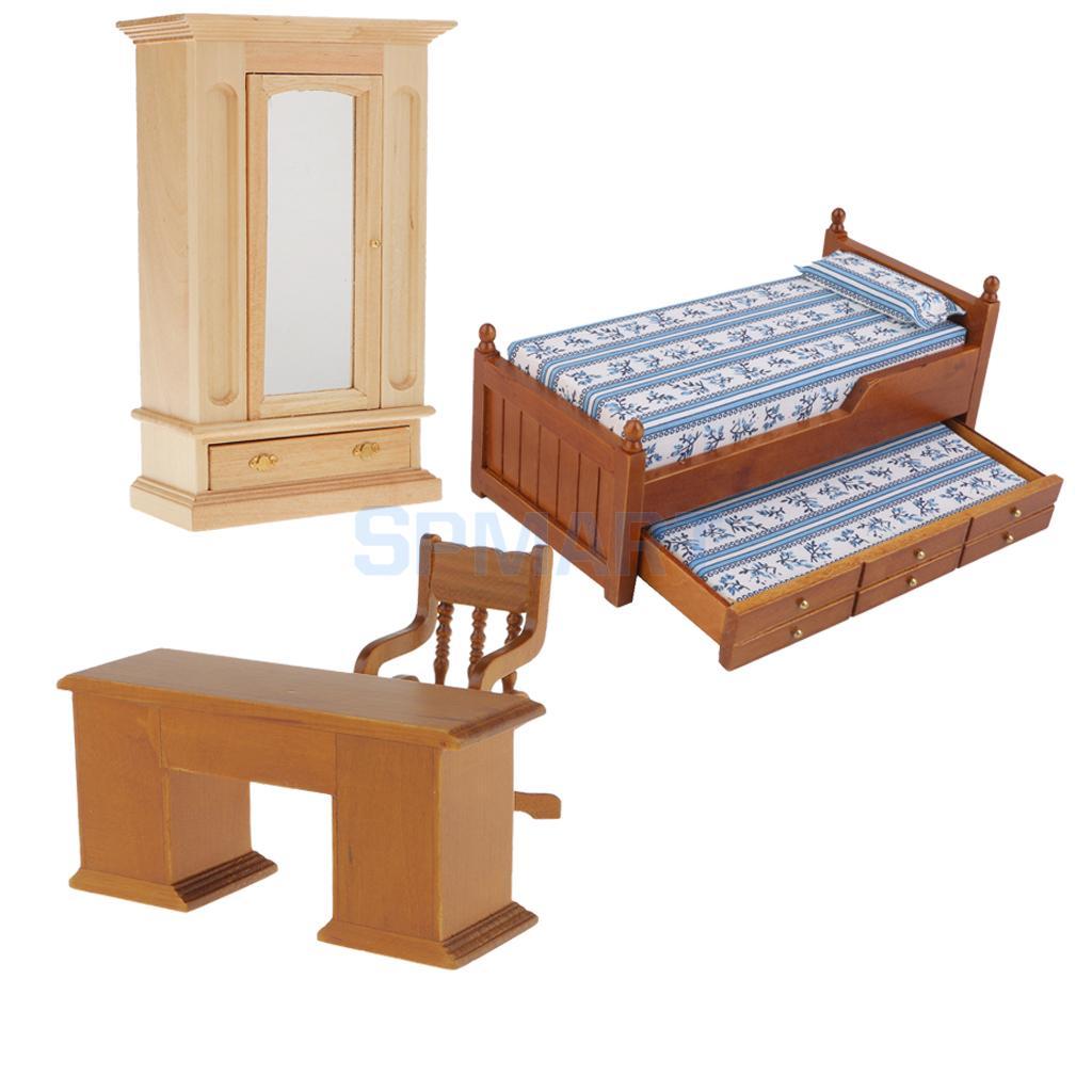 Vintage 1 12 Dollhouse Miniature Wooden Furniture Bedroom