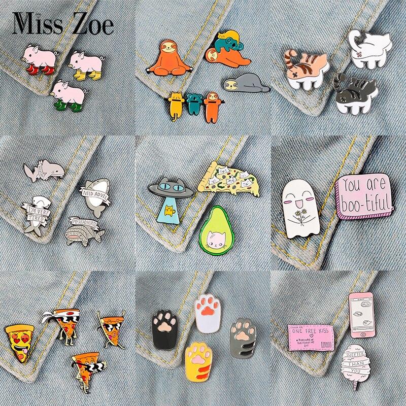 405d378d92fb 2~4pcs/set Party Time Enamel Pins Sloth Whale Dog Cat Pig Pizza Brooches  Bag Clothes Lapel Pin Badge ...