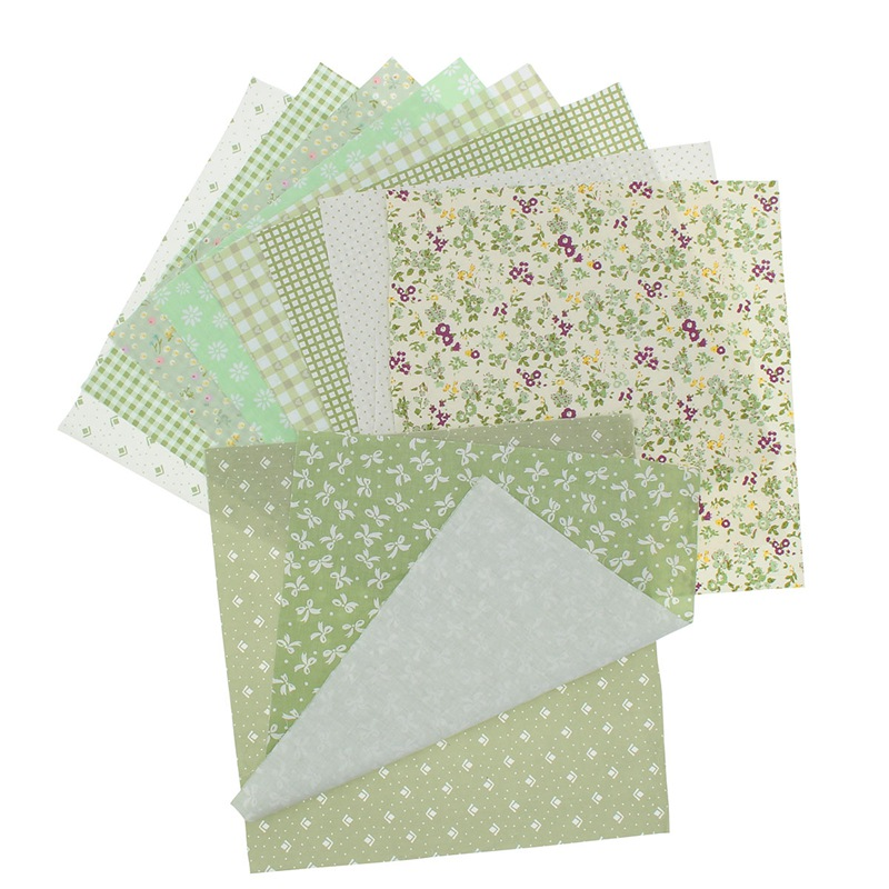 Wholesale 10pcs assorted green flower floral cotton fabric for Bulk sewing material