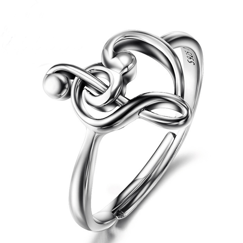 Sue Phil 925 Sterling Silver Music Note Wedding Rings For Women Luxury Jewelry Adjustable Heart Love