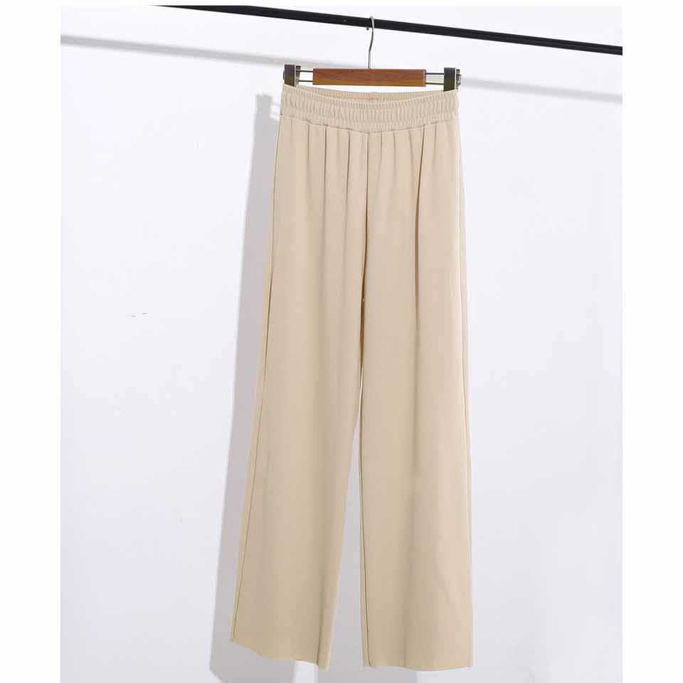 Casual Women Long Pants Solid Colors High Waist Wide Leg Trousers Summer Straight Loose Trousers