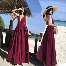 Women New Sling Beach Dress Summer Deep V-neck Backless Cross Vintage Wine Red Maxi
