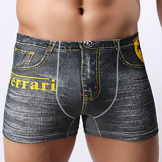 High quality Mens Jeans Boxers Underwear with Printed Sexy Low rise Brand Male Boxers Underpants Breathable Summer Man Panties