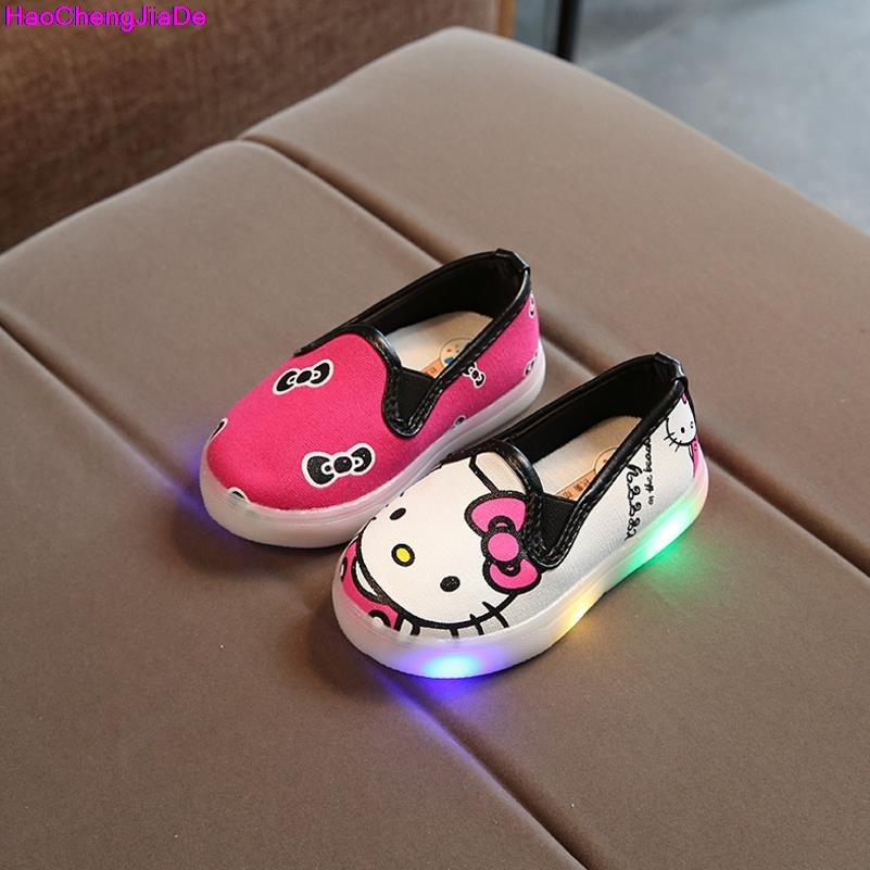 HaoChengJiaDe New Spring Autumn Summer Childrens Sneakers Kids Shoes Chaussure Enfant Hello Kitty Girls Shoes With LED Light