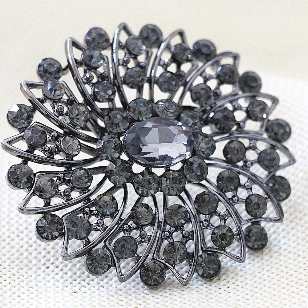 Austrian black rhinestone crystal elegant flower brooch pins wedding fashion women jewelry accessory B1245