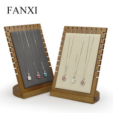 цена на FANXI  Solid Wood Beige/Dark Gray Necklace Display Stand Pendant Display Holder with Microfiber Jewelry Exhibitor Shop Counter
