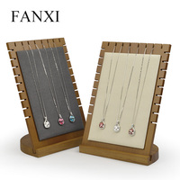 FANXI Solid Wood Beige/Dark Gray Necklace Display Stand Pendant Display Holder with Microfiber Jewelry Exhibitor Shop Counter