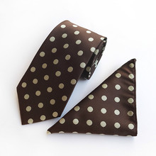 Classic Polka Dot Mens Tie White Brown Silk Neck Tie