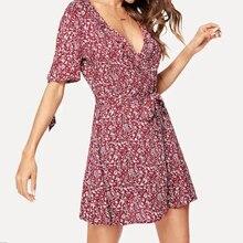 Fashion Women V-neck Ruffled Print Lacing Short Sleeve Empire Mini Dress Summer Casual Sexy Dresses