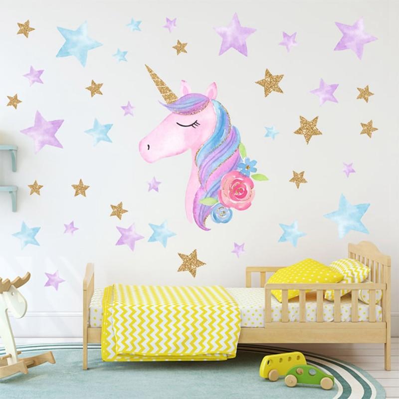 Cartoon Cute Unicorns Star Heart Wall Stickers Wallpaper ... on Room Decor Stickers id=55333