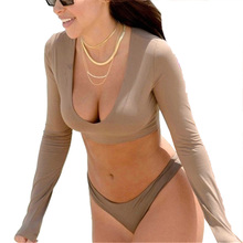 Free Shipping Push Up Swimsuit Long Sleeve For Women High Cut Monokini