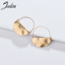 Joolim Jewelry Wholesale/Matt Gold Silver Half Round Hoop Earring Chic European Style