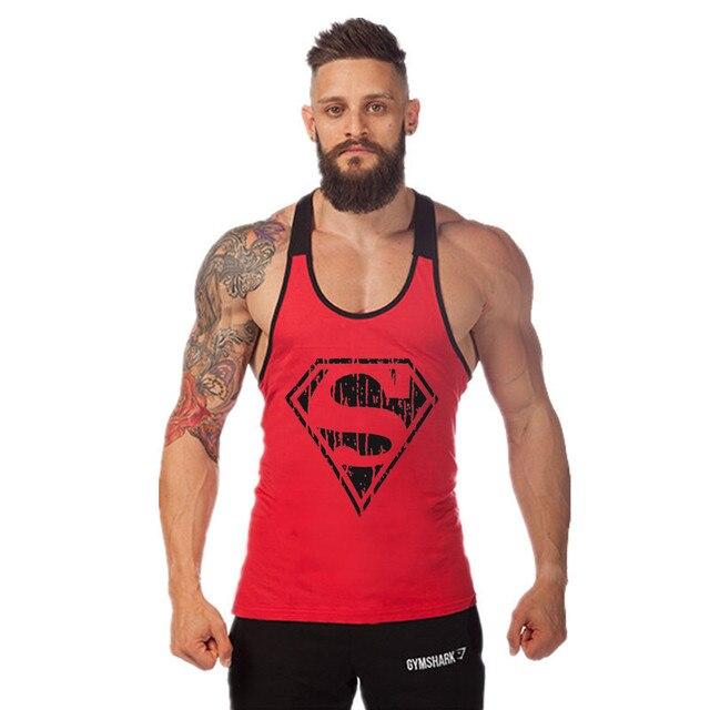 2016 Новый Жилет Singlets Бодибилдинг И Фитнес Мужчины Одежда Супермен 95% Хлопок Свободные Рукавов Танк 9 Цветов Топ MT106