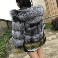 New Real Fox fur Coat Genuine Silver Fox Fur Hooded Coat Thick female jacket With Hood Fashion 2018 Winter Women Real Fur Coat