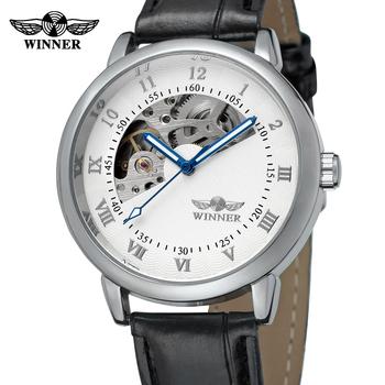 Moda zwycięzca Top marka złote zegarki męskie zegarki zegarki mechaniczne dla mężczyzn skórzany szkielet zegarki Montre Homme zegar tanie i dobre opinie T-WINNER 3Bar Moda casual Mechaniczna Ręka Wiatr Klamra 25cm Ze stopu 10mm Odporny na wstrząsy Odporne na wodę Hardlex