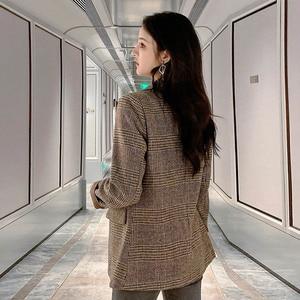Image 4 - Automne femmes laine manteau femme Version coréenne 2019 nouveau hiver Plaid Blazer mode haute qualité femme laine manteaux