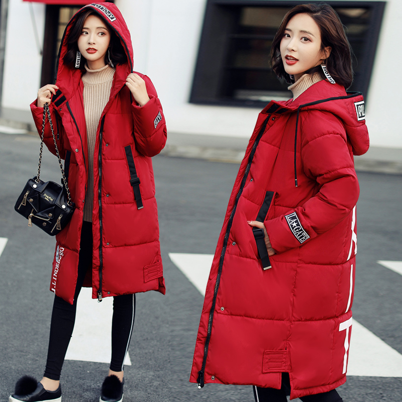 Women Winter Coats 2017 Fashion Letter Printing Long Outerwear Womens Coat Full Sleeve Hoodies Slim Parka Cotton Jackets  Mujer