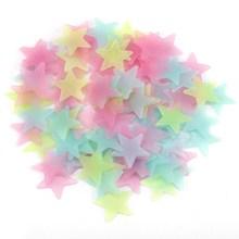 100pcs 3D Stars Glow In Dark Luminous Fluorescent plastic Sticker Light-emitting DIY fluorescent stickers