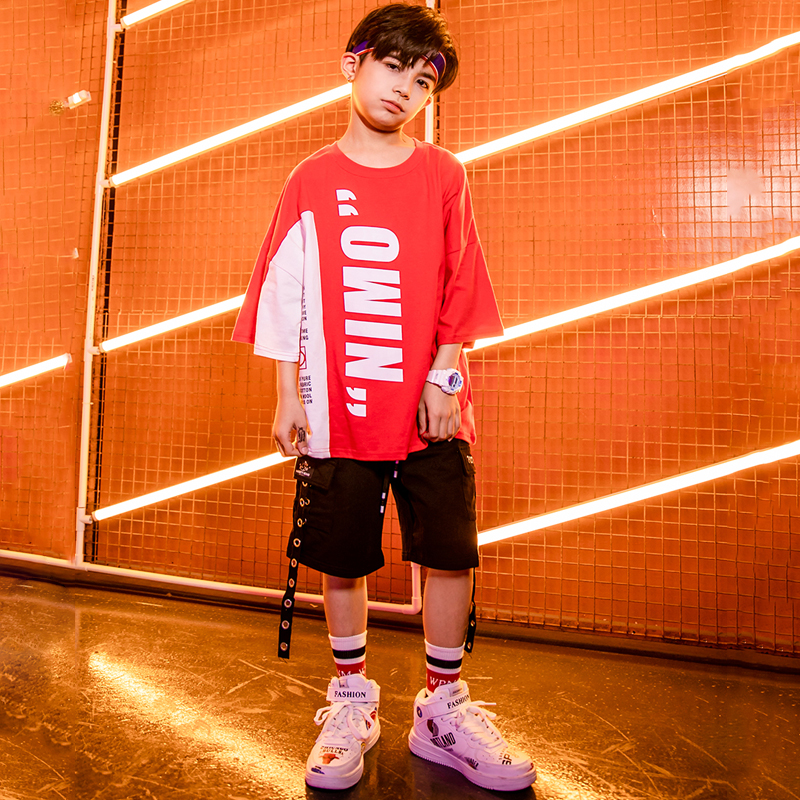 Children Hip Hop Clothing Shirts Running Casual Shorts Suits For Boys Jazz Dance Costumes Ballroom Dancing Clothes Wear DQS2147