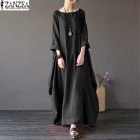 Tops Blusas 2017 ZANZEA Women Oversized Round Neck 3 4 Sleeve Tunic Baggy Casual Maxi Long