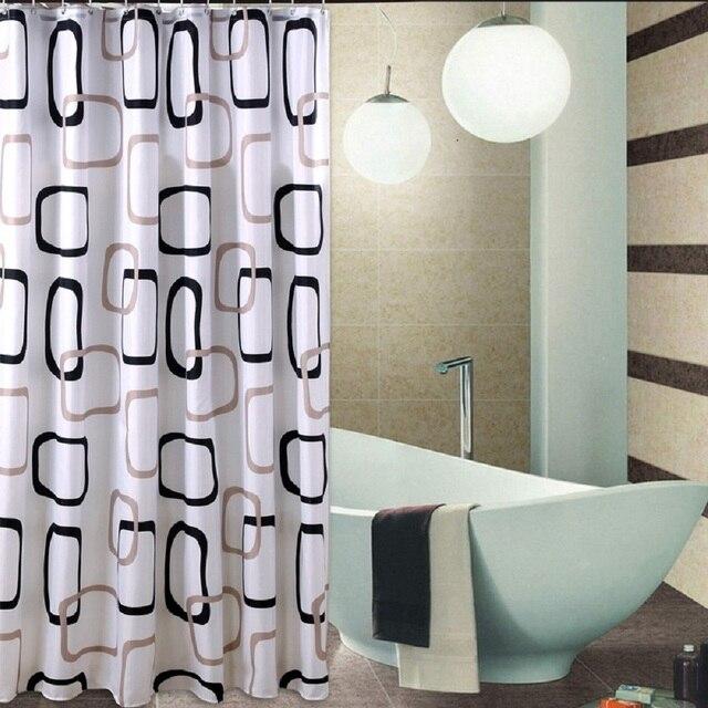 Waterdichte badkamer douche gordijn stof douchegordijn set extra brede  lange 12 douchegordijn ringen zwart bruine vierkante cirkel in Waterdichte  ...
