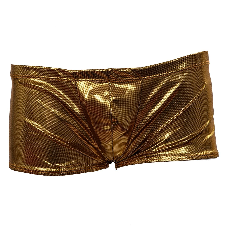 Top Fashionable Goods Shop TFGS Mens Boxer Brief Stretch Underwear Thong - Metallic Golden
