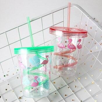 450ml Flamingo Cartoon Cute Plastic Straw Bottle Summer Outdoor Sport Cool Ice Water Bottle Women Office School Drink Bottles 1