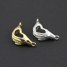 21*12*6mm Champagne Gold and 925Silver Color Plated Brass Hand Charms Pendants High Quality For Diy Jewelry Making Necklace(China)