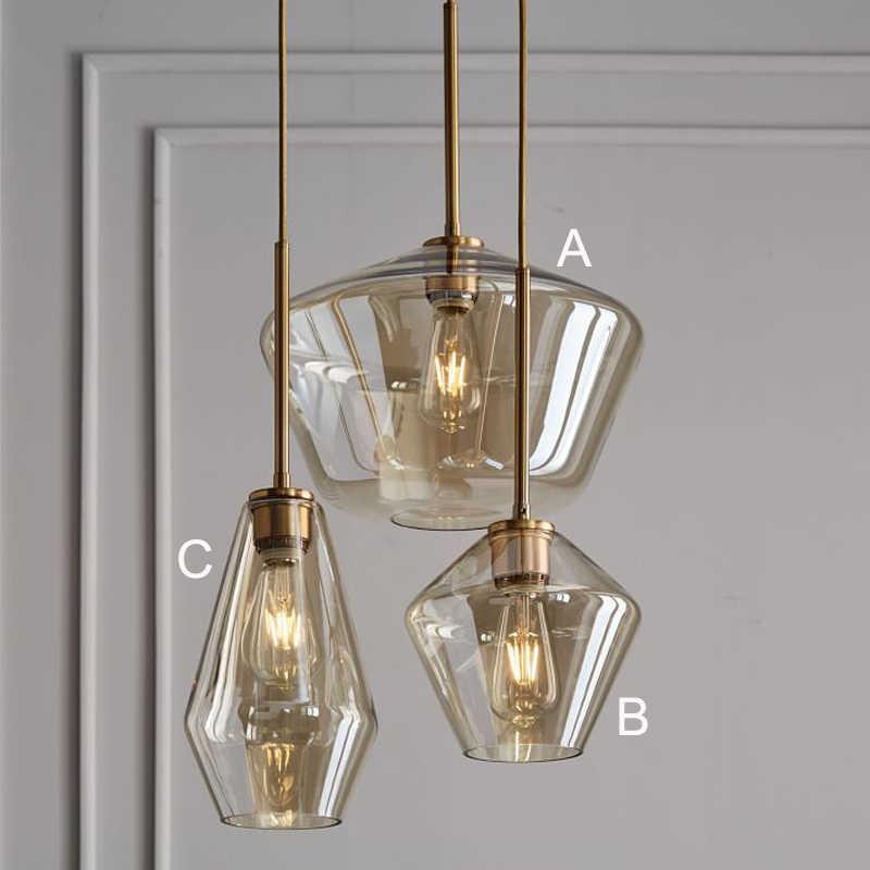 Современный подвесной светильник из стекла в скандинавском стиле, светодиодный подвесной светильник для кухни, ресторана, гостиной, спальни, E26, E27