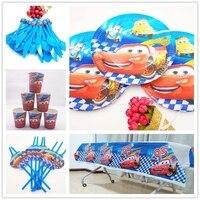 61pcs Disney Lightning McQueen Cartoon Cars Paper Plate Kids Boys Favor Happy Birthday Party Supplies Decor