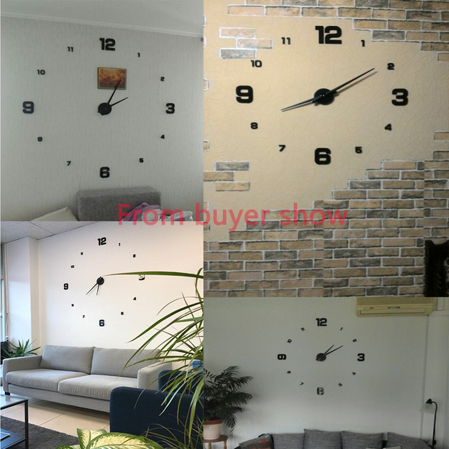 2019 new arrival 3d real big wall clock modern design rushed Quartz clocks fashion watches mirror sticker diy living room decor 4