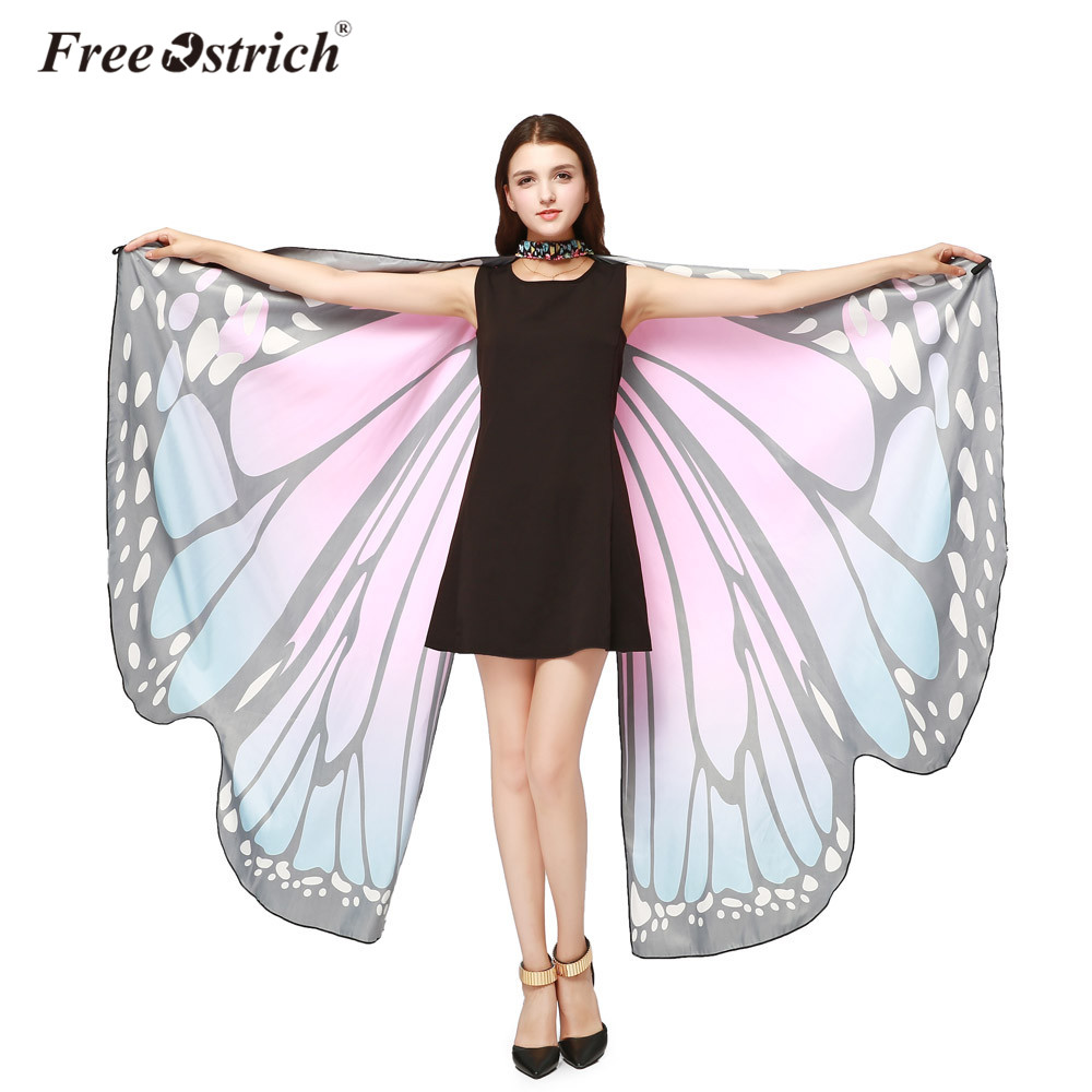 Free Ostrich 2018 Women Pashmina Soft Fabric Female Butterfly Wings Shawl Scarves Ladies Nymph Poncho Costume Accessory B1140