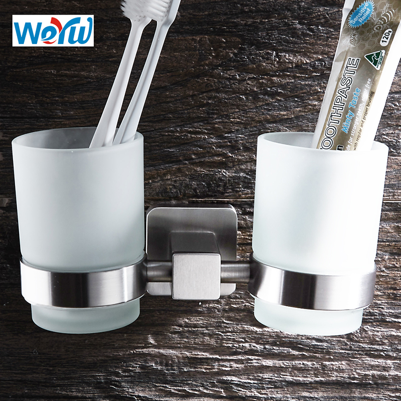 WEYUU Toothbrush Toothpaste Cup Holders SUS304 Stainless Steel Glass Tumbler Wall Mounted Bathroom Accessories Wire drawing frap bathroom accessories wall mounted silver single cup tumbler holder toothbrush toothpaste glass cup holders f3706