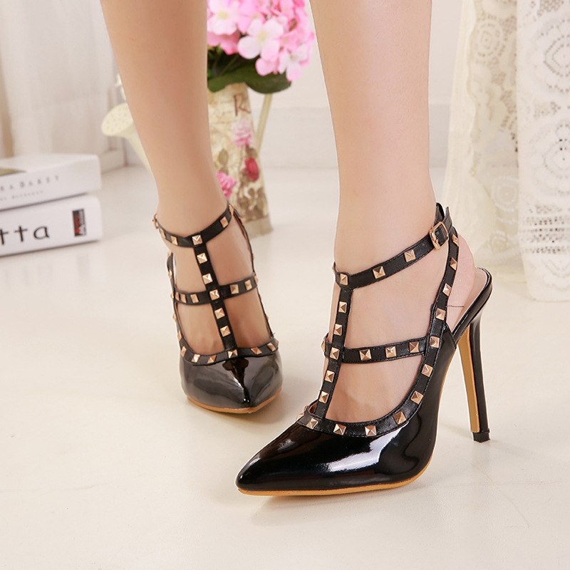 Sexy Women Pumps High Heels Shoes Rivet Fashion Spring Party Shoes Casual Ladies Pointed Toe Shoes Buckle Female Shoe Hot ABT743 fashion new spring summer med high heels good quality pointed toe women lady flock leather solid simple sexy casual pumps shoes