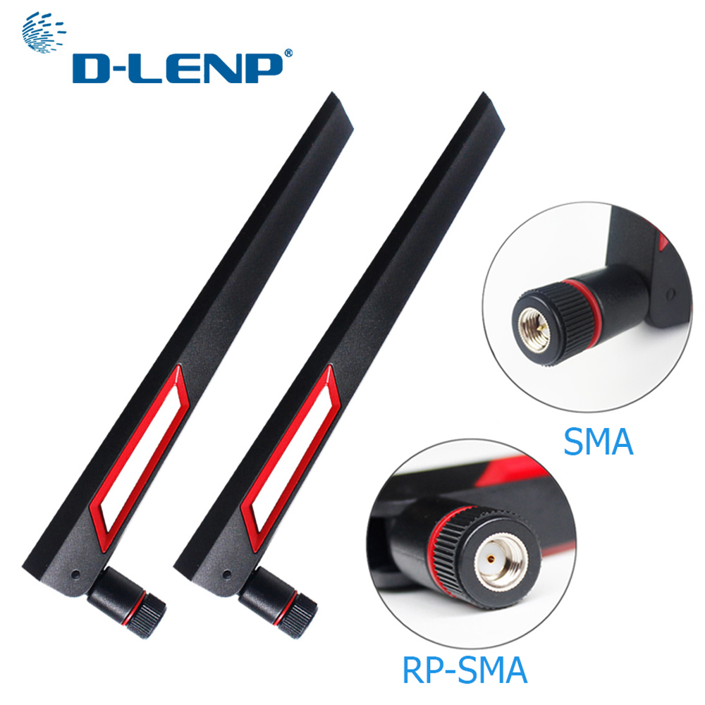 Dlenp 1 Pair 2.4Ghz 5G 5.8Ghz Wifi Antenna Dual Band 12dBi Antenna Router Antenna SMA Male (pin)/ RP-SMA Male(hole)