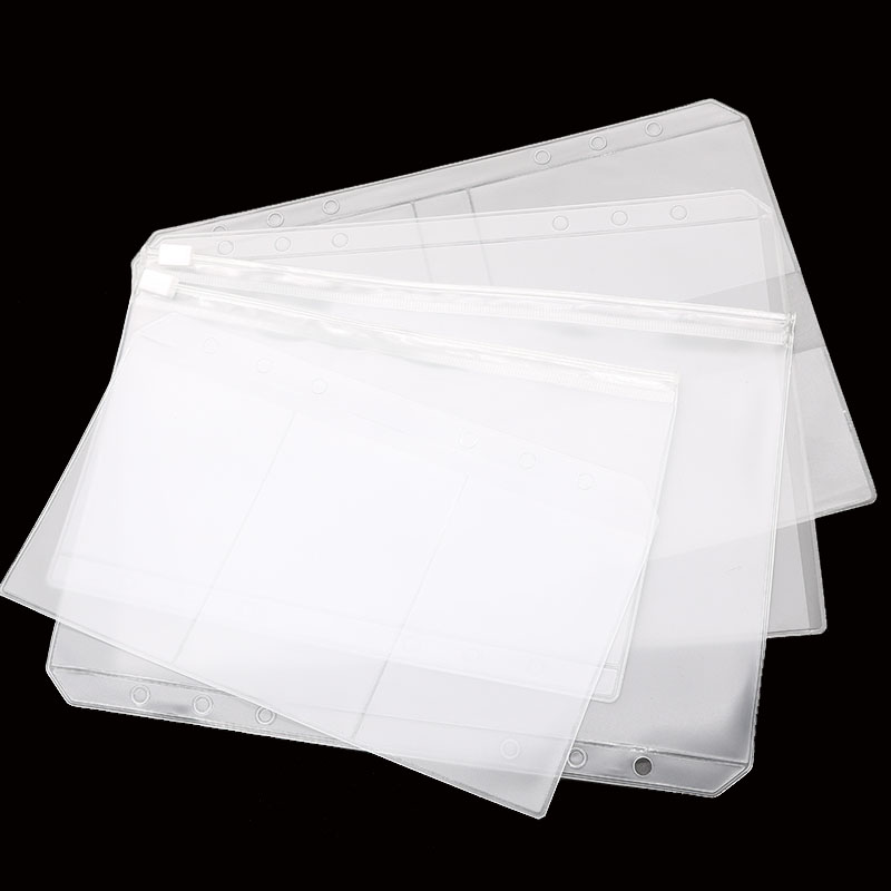 A5 / A6PVC Loose-Leaf Notebook Zipper Bag 6 Hole Binder Business Card Bag Cut Children Students Study Materials Folder