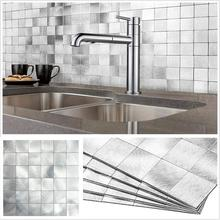 4 Sheets Nordic Peel and Stick Wall Decor Stickers 12 Inch Cool Color Aluminum Alloy Fireproof Tiles for Kitchen Backsplash