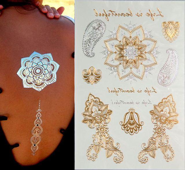 Us 088 Produkty Erotyczne Tymczasowe Tatuaże Styl Błyszczące Złote I Srebrne Metalowe Tymczasowy Tatuaż Jednorazowe Indians Flash Tatuaż W Produkty