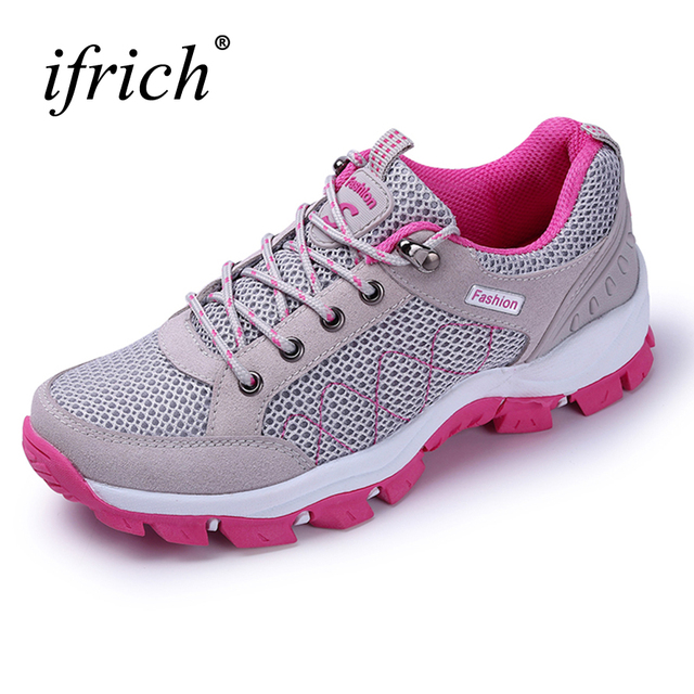 Spring Summer Women Outdoor Mountain Shoes Mesh Breathable Hiking Shoes  Trekking Sneakers Gray Red Outdoor Trail Shoes Ladies 8b0bdd74db84