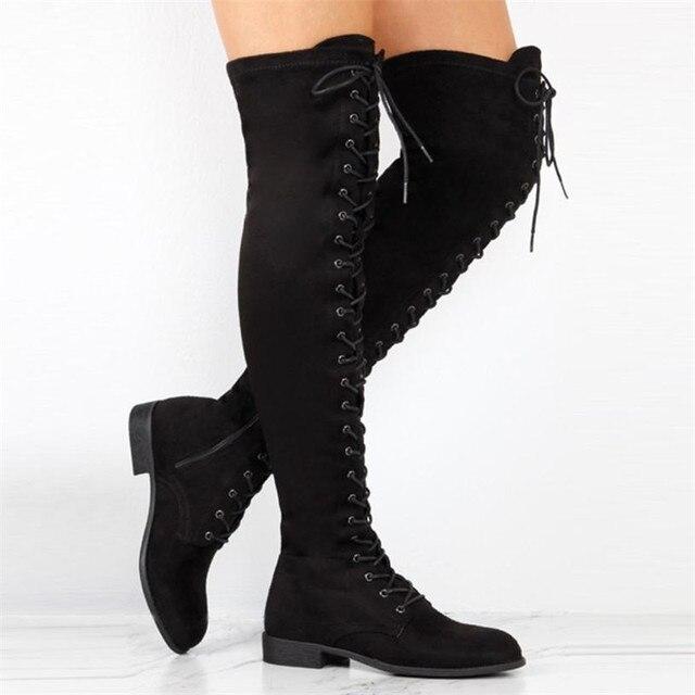 6f9a9e68d40565 Women Cross-tied Platform High Boots Over The Knee Boots Flat Heel Boots  Winter Zipper Shoes Woman botas 2018 australia mujer