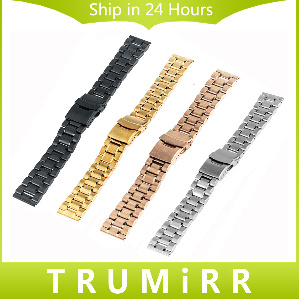 Prix pour 16mm 18mm 20mm 22mm 24mm Montre En Acier Inoxydable Bande Universal Strap Serrure En Acier Inoxydable Boucle Bracelet Noir Rose Or Argent