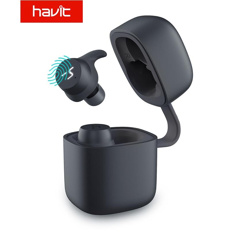 HAVIT Novo G1pro TWS Esporte Fone de Ouvido Bluetooth Fone de Ouvido Sem Fio Bilateral IPX6 Painel Touch Screen Fones De Ouvido Com Microfone Chamada