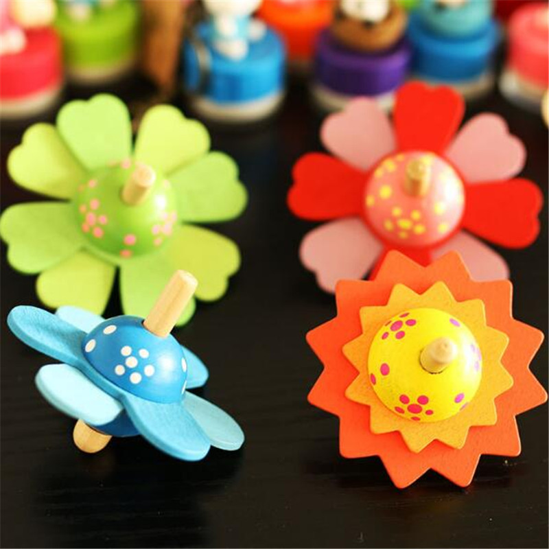 Baby Flower Rotate Wood Toys Kids Spinning Top Develop Educational Toys Gifts